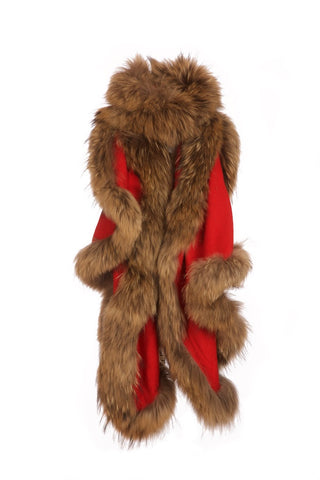 Cashmere Fur Trimmed Scarf Red