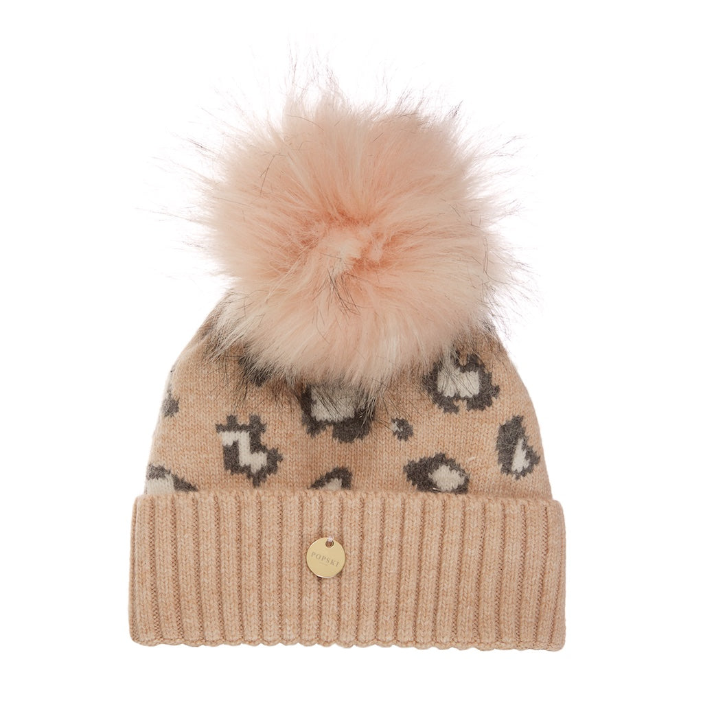 Mini Dusty Pink Leopard Angora Pom Pom Hat with Faux Pom Pom