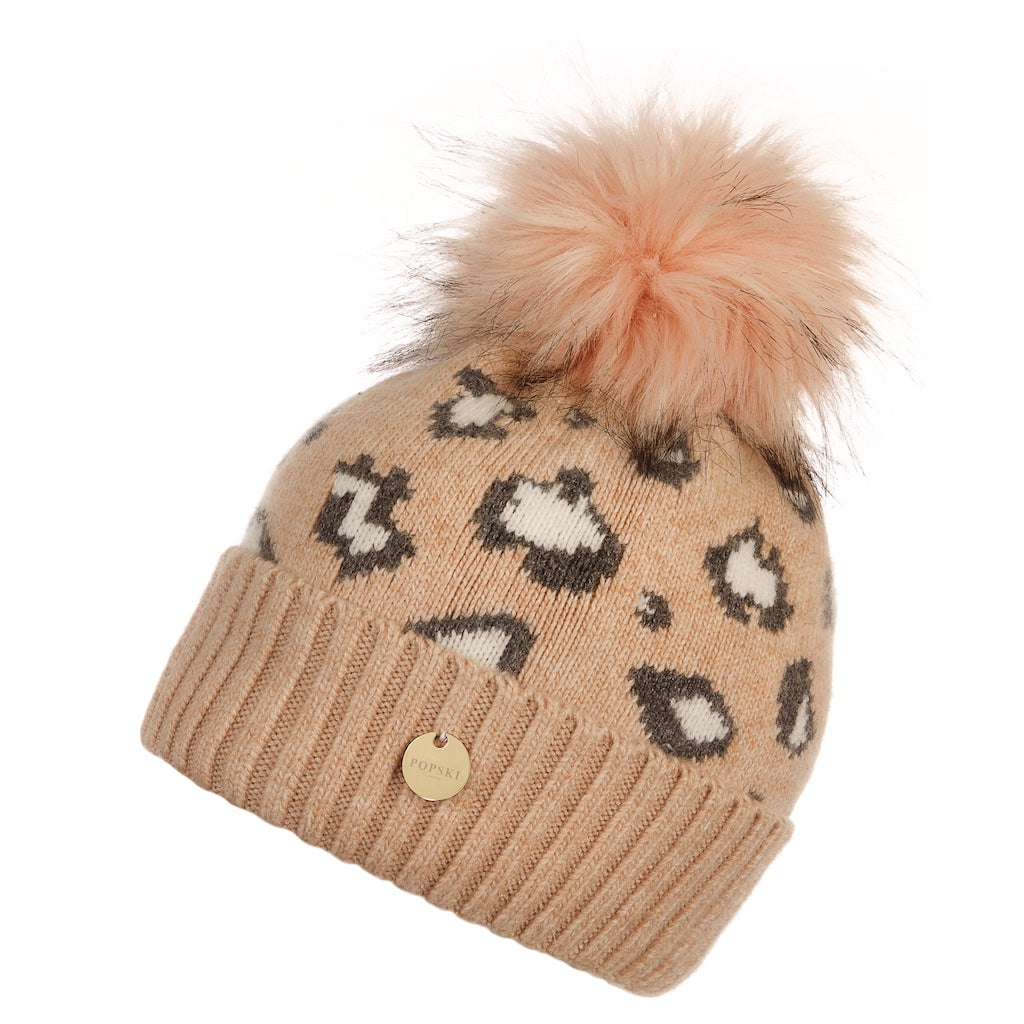 Dusty Pink Leopard Angora Pom Pom Hat with Faux Pom Pom