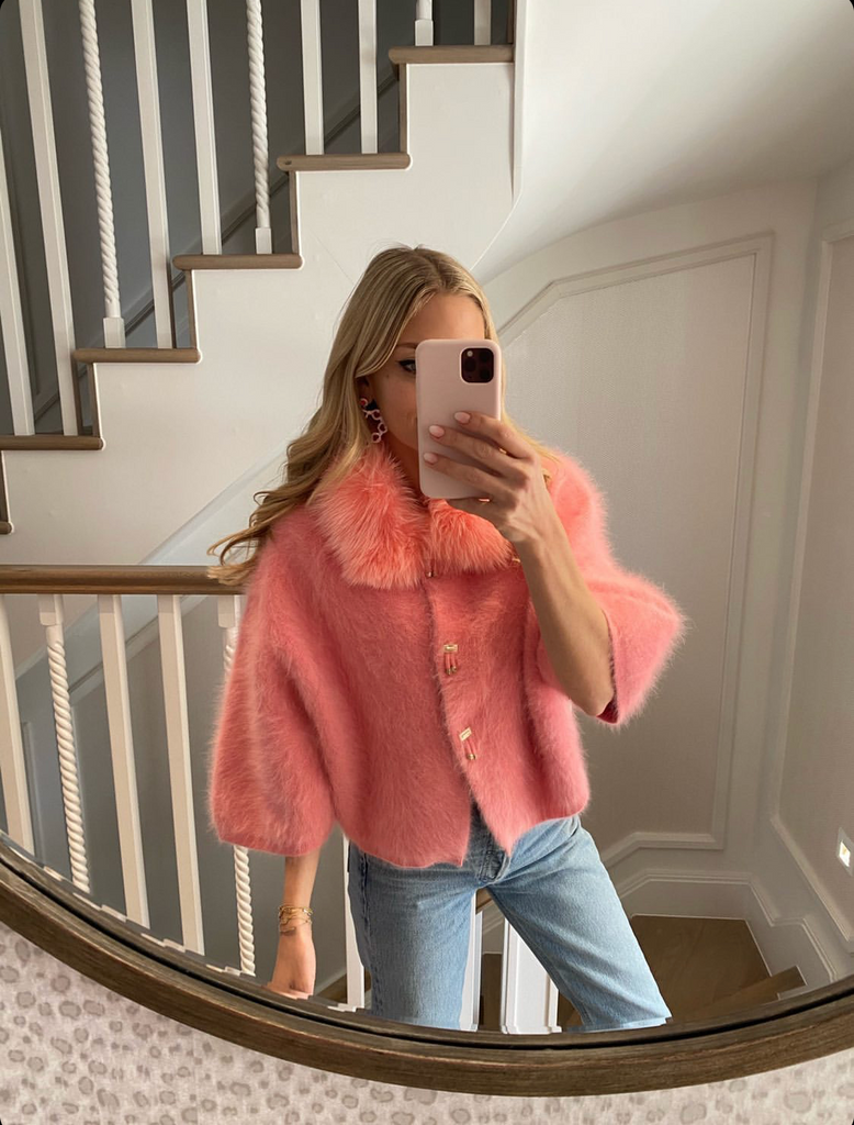 PRE ORDER Popski London Rose Pink Cashmere Cardigan