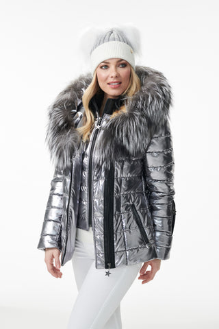 Aspen Fur Trimmed Metallic Jacket
