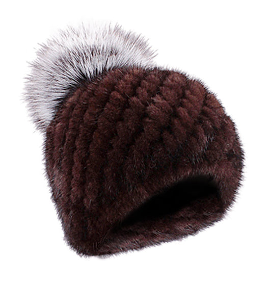 Mink Limited Edition Full Fur Hat Chocolate Silver Pom Pom