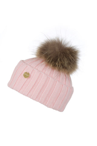 Candy Pink Raccoon Fur Pom Pom Hat