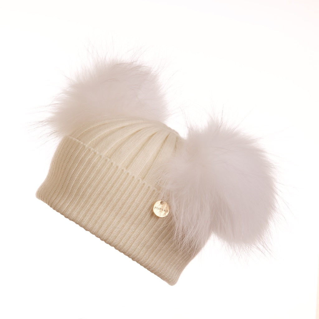 Mini Popski Double Trouble Angora Frost Fur Pom Pom Hat