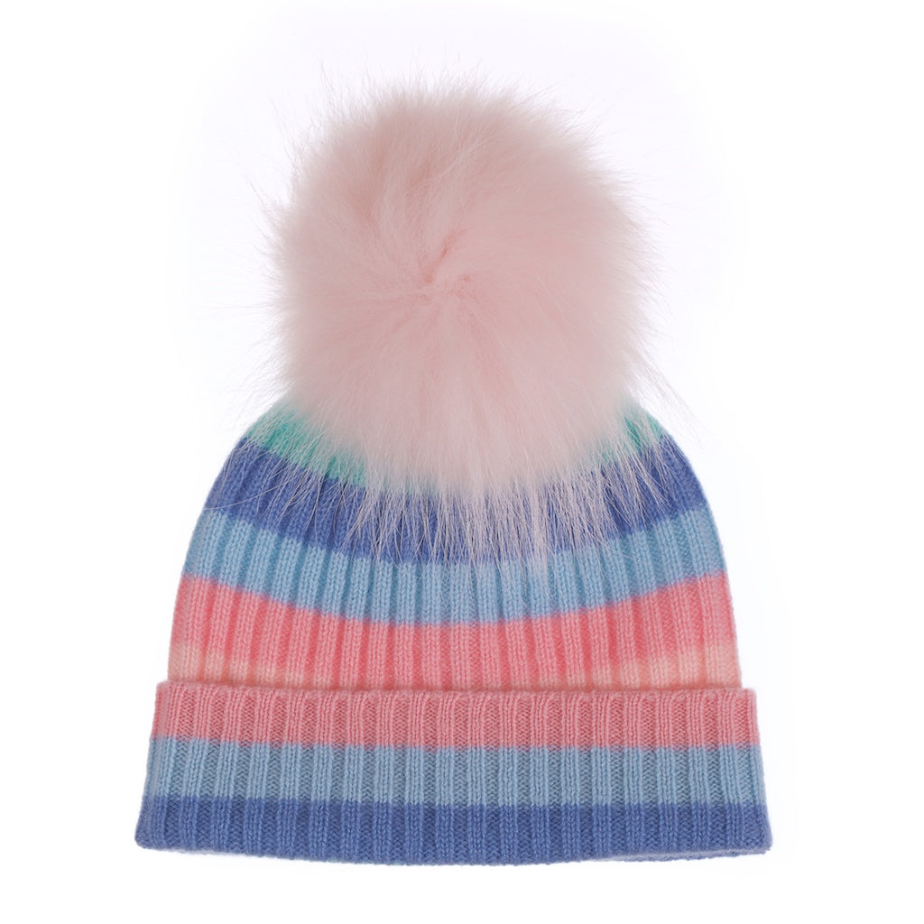 Popski London Rainbow Cashmere Fur Pom Pom Hat Pink