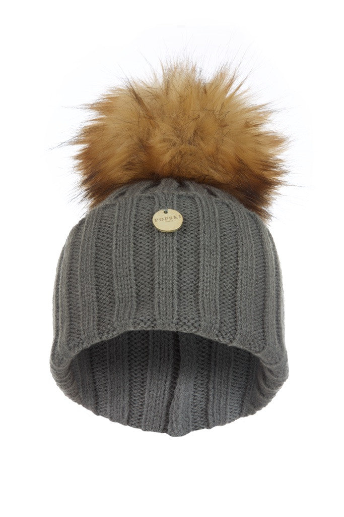 e1d8c4da1 Faux Fur Pom Pom Hat - Dark Grey