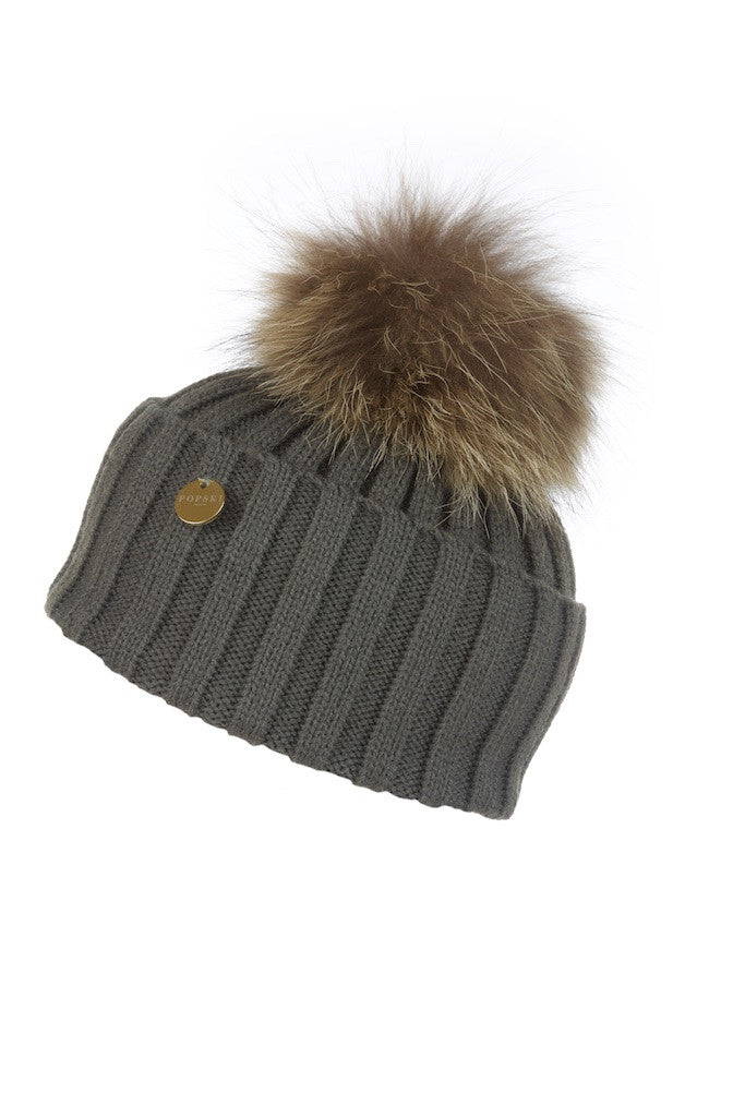 Raccoon Fur Pom Pom Hat – Popski London 53f567cac99
