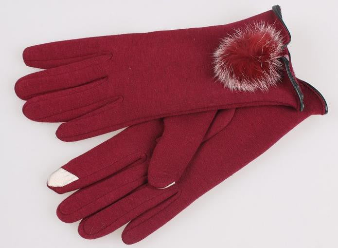 Thermal Red Gloves Fur Pom Pom - Touch Screen