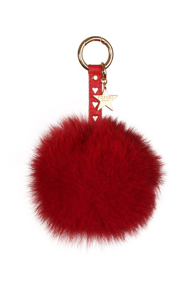 Heart Fox Fur Pom Pom Keyring - Red
