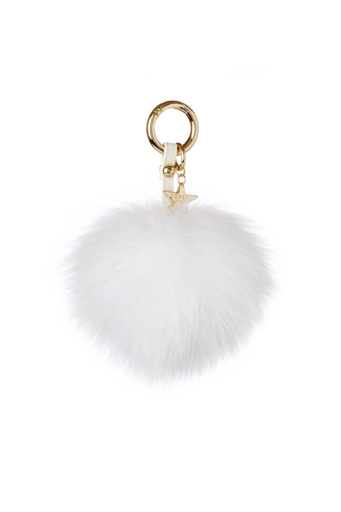 Fox Fur Pom Pom Keyring - White