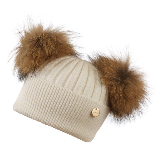 Double Angora Fur Pom Pom Hat Frost with Natural Pom Poms