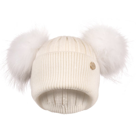 Double Angora Fur Pom Pom Hat Frost with Matching Pom Poms