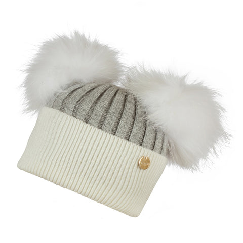 Double Angora Fur Pom Pom Hat Whisper Grey and Frost