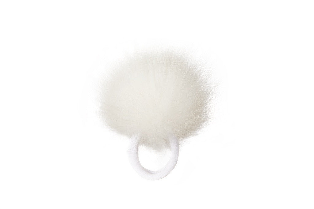 Vintage Fox Fur Hair Pom Pom - White