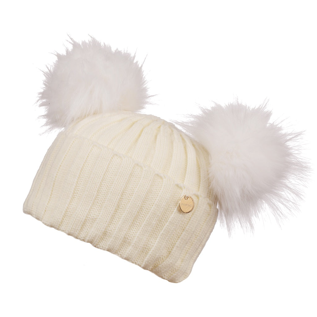 Double Faux Fur Pom Pom Hat Snow White