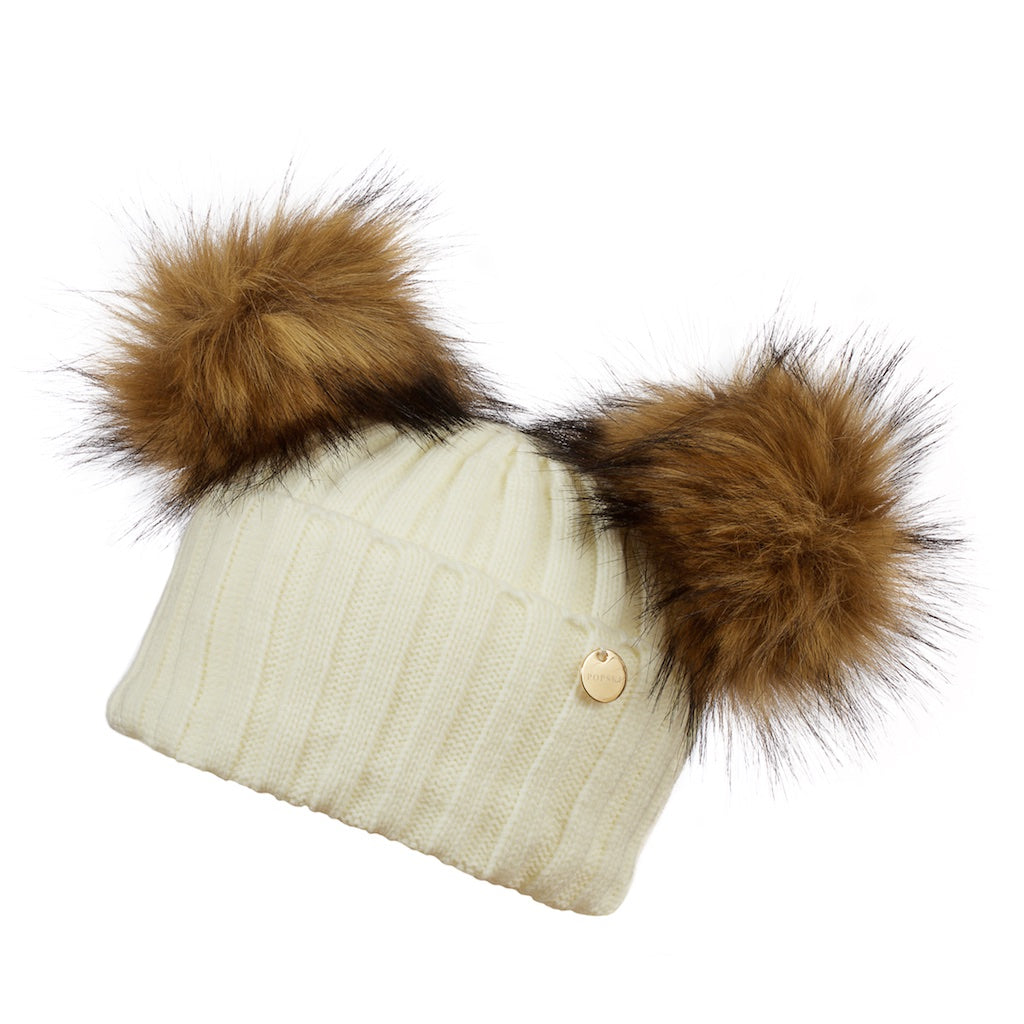 Double Faux Fur Pom Pom Hat Snow White with Faux Natural Pom Pom