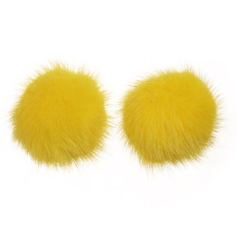 Mink Shoe Pom Poms - Yellow