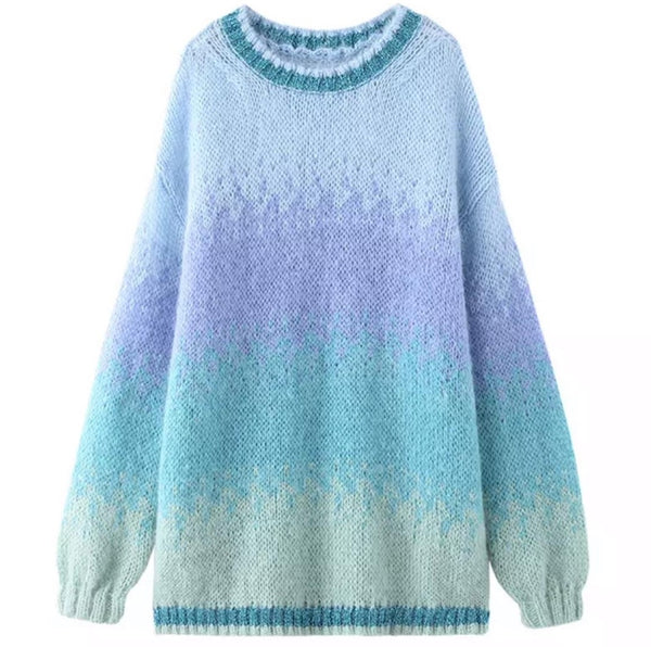Ombré Teal and Blue Knit Jumper