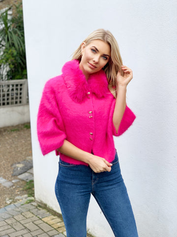 PRE ORDER Popski London Hot Pink Cashmere Cardigan