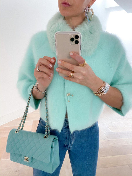 PRE ORDER Popski London Mint Green Cashmere Cardigan