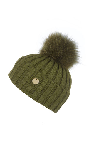 Raccoon Fur Pom Pom Hat with Matching Pom Pom - Khaki