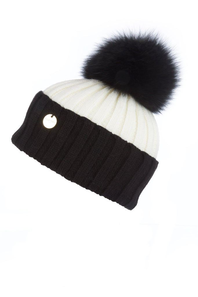 Raccoon Fur Pom Pom Hat - monochrome