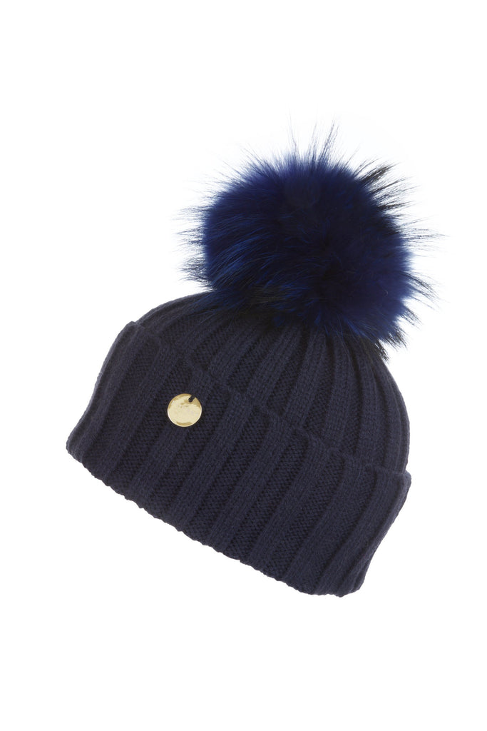 Raccoon Fur Pom Pom Hat with Matching Pom Pom - Navy b0a1bd28f14