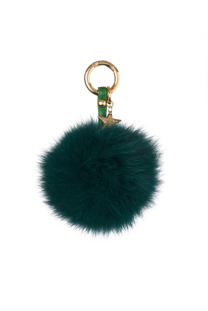 Fox Fur Pom Pom Keyring - Racing Green