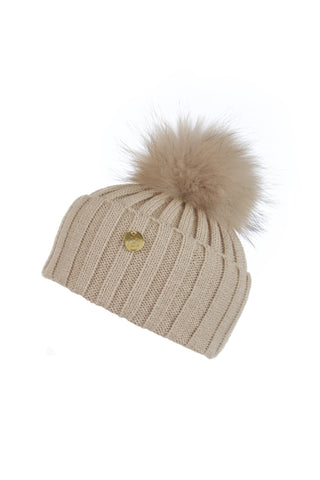 Raccoon Fur Pom Pom Hat with Matching Pom Pom - Beige