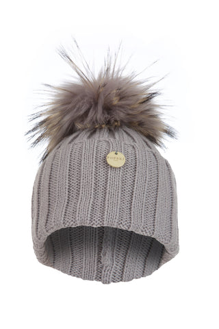 Raccoon Fur Pom Pom Hat with Matching Fur Pom Pom - Light Grey