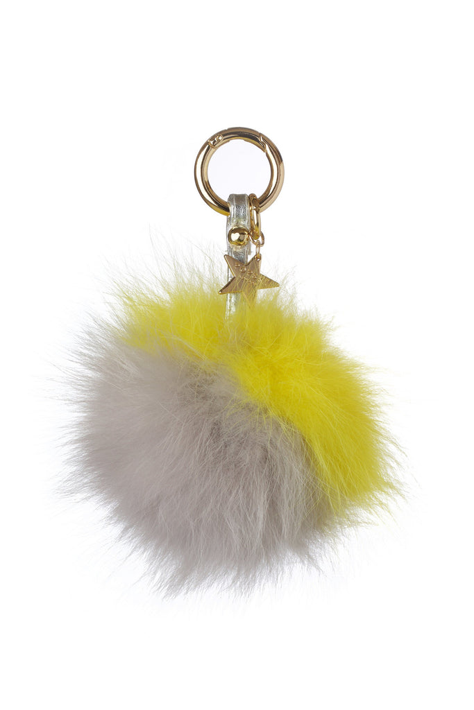 Fox Fur Pom Pom Keyring - Grey/Yellow