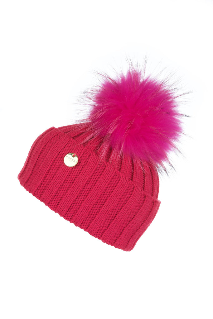 Raccoon Fur Pom Pom Hat with Matching Pom Pom - Hot Pink
