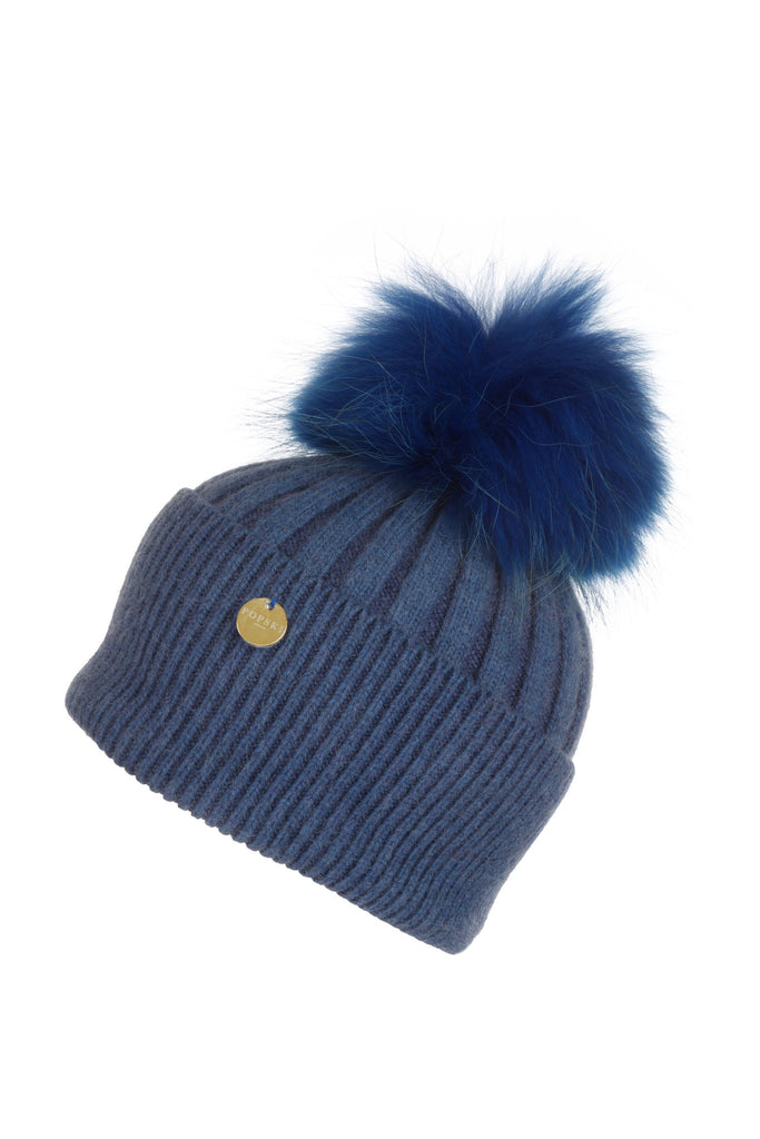 Angora Pom Pom Hat - Evening Blue