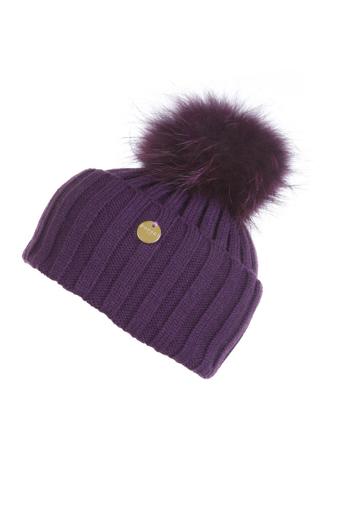 Raccoon Fur Pom Pom Hat with Matching Pom Pom - Deep Purple