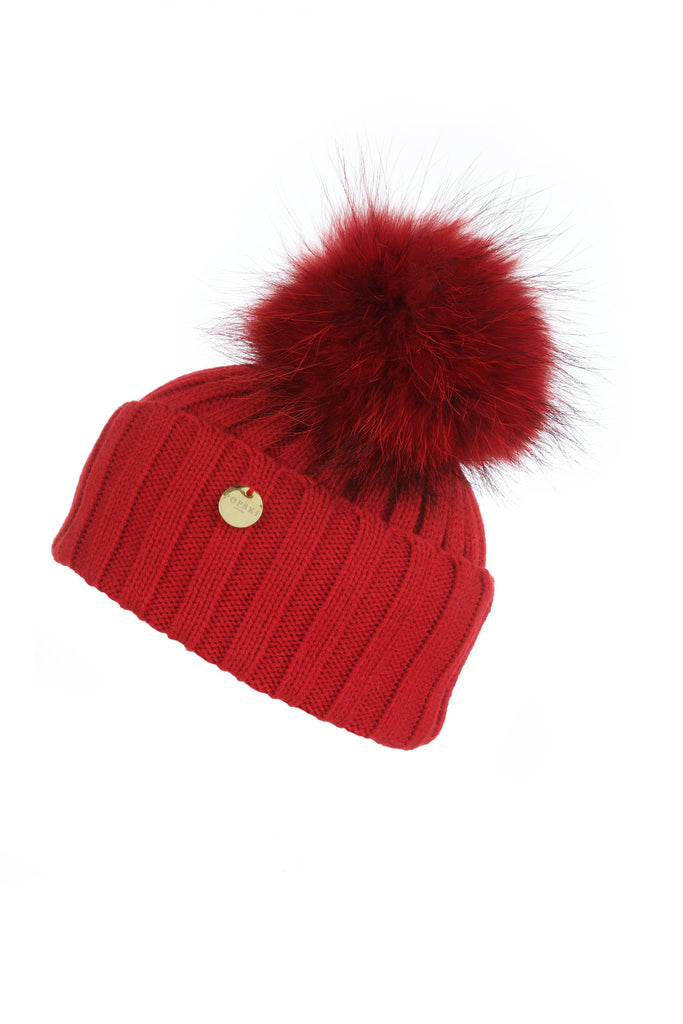 Red Raccoon Fur Pom Pom Hat with Matching Pom Pom