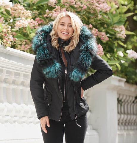 Cecile Jacket Aqua Silver Fox Collar