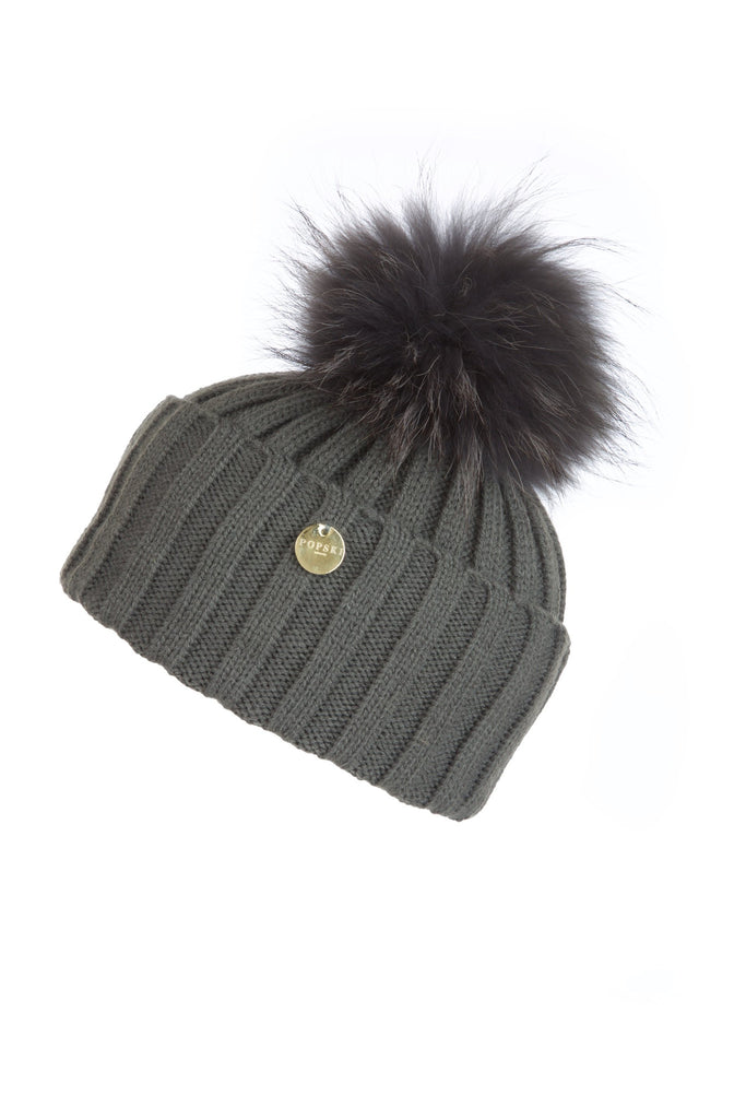 Raccoon Fur Pom Pom Dark Grey with Matching Pom Pom