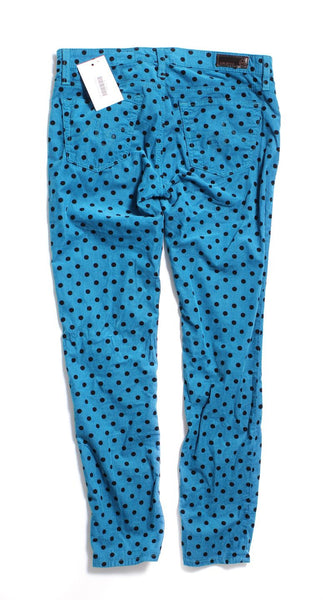 AG ADRIANO GOLDSCHMIED Blue Polka Dot The Stevie Corduroy Pants Sz 27