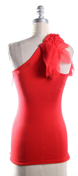 ALICE + OLIVIA Red One Shoulder Knit Top Silk Trim/Embellishment Sz XS