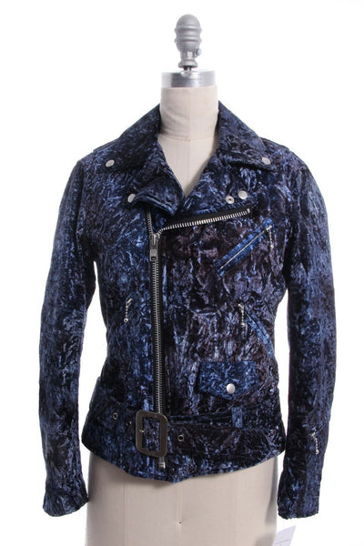 COMME DES GARCONS Blue Crushed Velvet Motorcycle Jacket Sz S