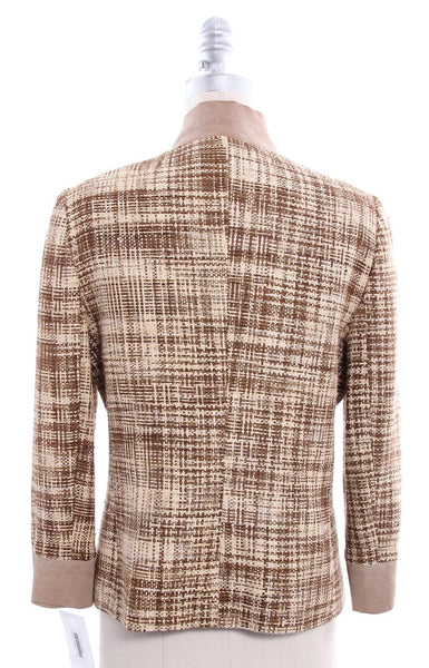 DOLCE & GABBANA Brown Tan Woven Suede Collar Jacket Sz 10 IT 46