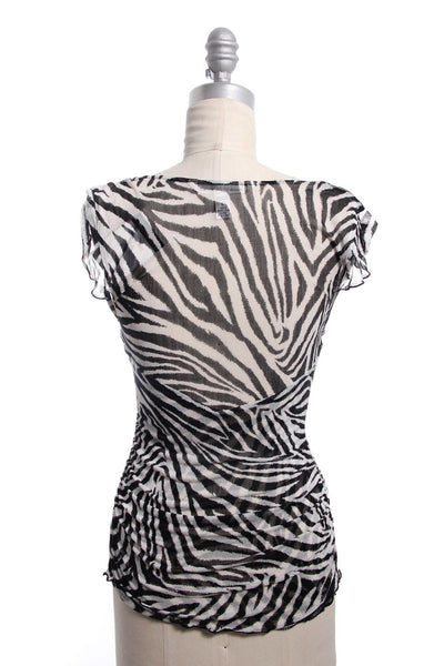 DVF Black White Sheer Zebra Print Silk Ruched Tommy Top Sz M