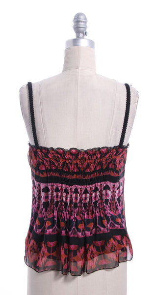DIANE VON FURSTENBERG Pink Black Print Silk Sleeveless Dominik Top Sz  6