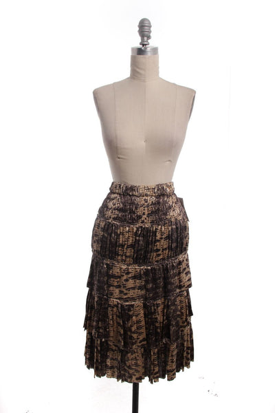 ISABEL MARANT Brown Beige Snakeskin Silk Tiered Ruffle Skirt Sz 2