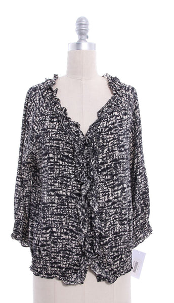 JOIE Black White Abstract Print Ruffle Top Sz M