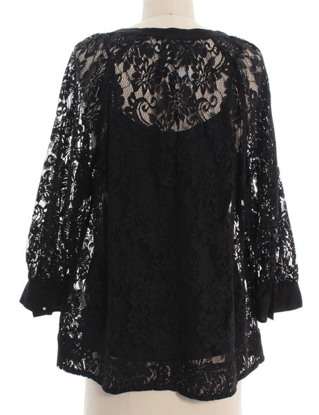 JOIE Black Lace V-Neck Blouse Sz M