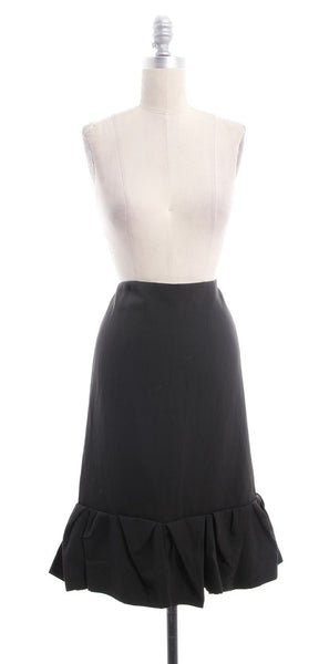 LANVIN Brown Pleated Bottom A-Line Skirt Size FR 40 US 8