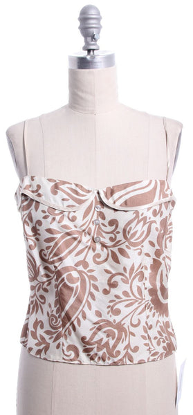 LELA ROSE Brown Cream Print Silk Crop Top Sz 8
