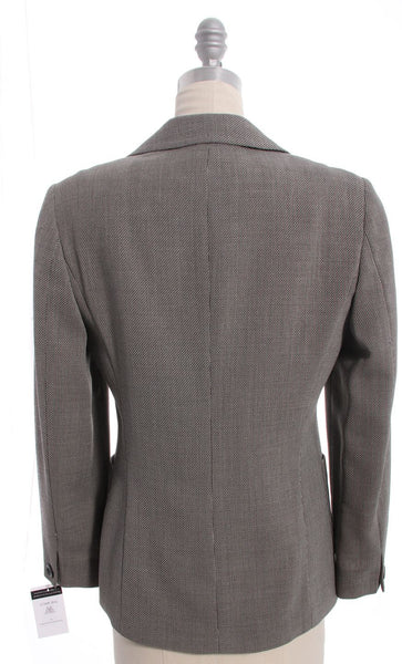 MAXMARA Black White Tweed Single Button Wool Silk Blend Blazer Sz 8