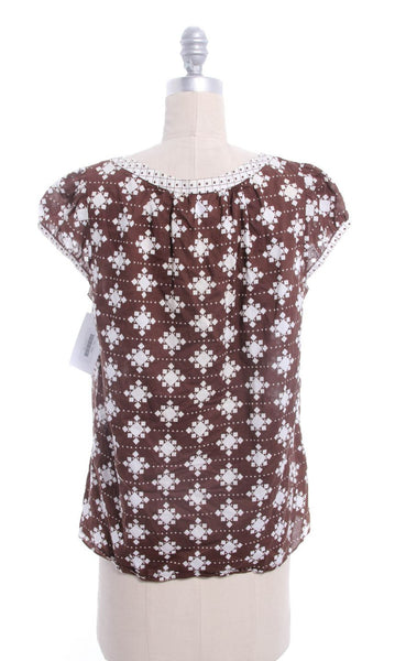 MILLY Brown White Printed Smock Top Sz 8